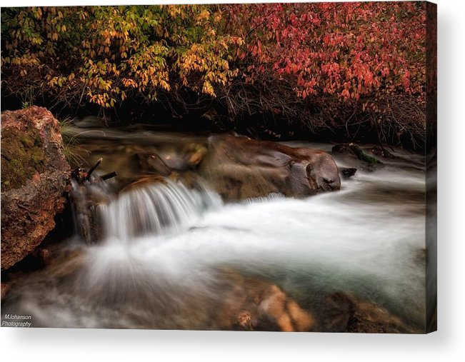 Autumn Acrylic Print featuring the photograph The Steady River Flow by Mitch Johanson