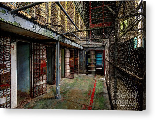 The West Virginia State Penitentiary Acrylic Print featuring the photograph The West Virginia State Penitentiary Cells by Dan Friend
