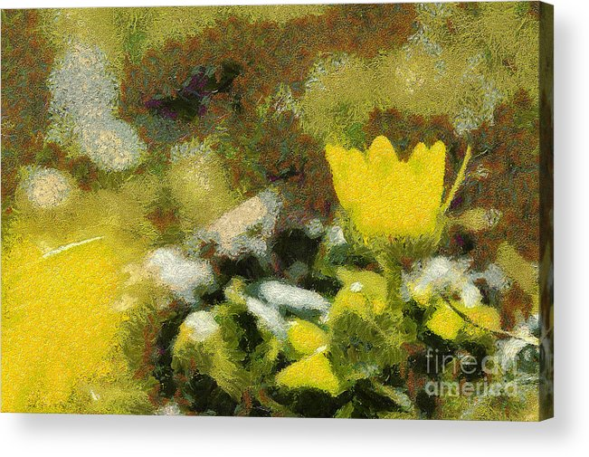 Odon Acrylic Print featuring the painting The Yellow Flower by Odon Czintos