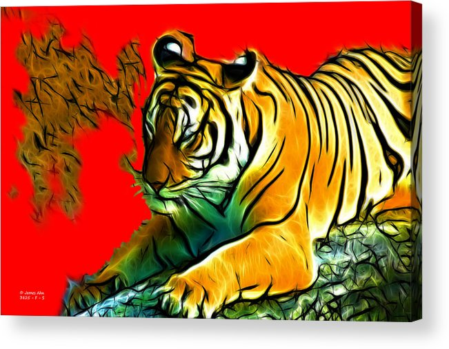 Tiger Acrylic Print featuring the digital art Tiger - 3825 - Red by James Ahn