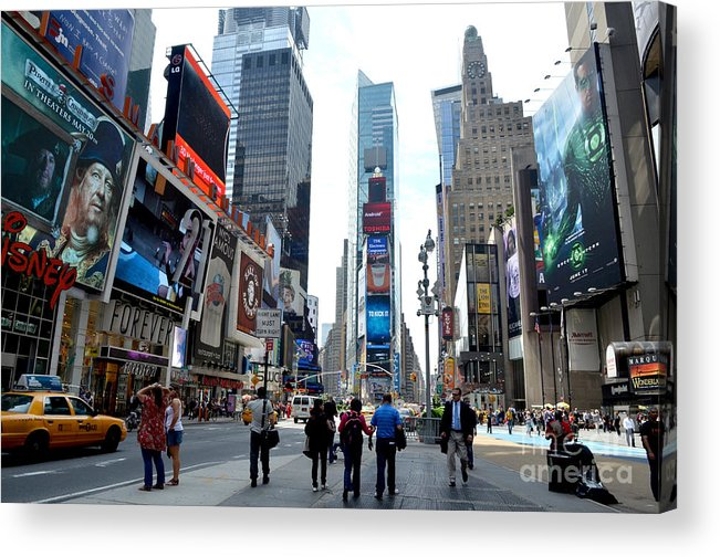 Times Square Acrylic Print featuring the photograph Times Square by Pravine Chester