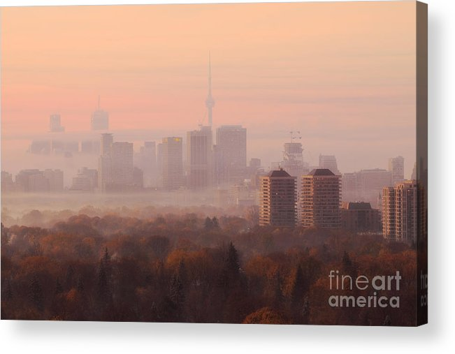 Toronto Acrylic Print featuring the photograph Toronto Foggy Sunrise by Charline Xia