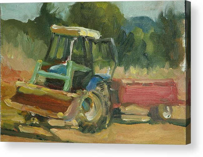 Tractor Tractor In Italy Acrylic Print featuring the painting Tractor In Italy by Elizabeth Taft