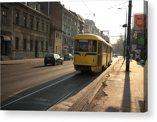 Sarajevo Acrylic Print featuring the photograph Tramway In The Morning Light by Frederic Vigne