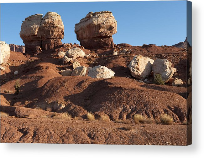 Landscapes Acrylic Print featuring the photograph Twin Rocks Capitol Reef Np by Sandra Bronstein