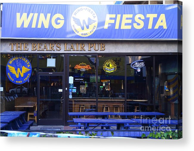 The Bears Lair Pub Acrylic Print featuring the photograph Uc Berkeley . Bears Lair Pub . 7d10165 by Wingsdomain Art and Photography