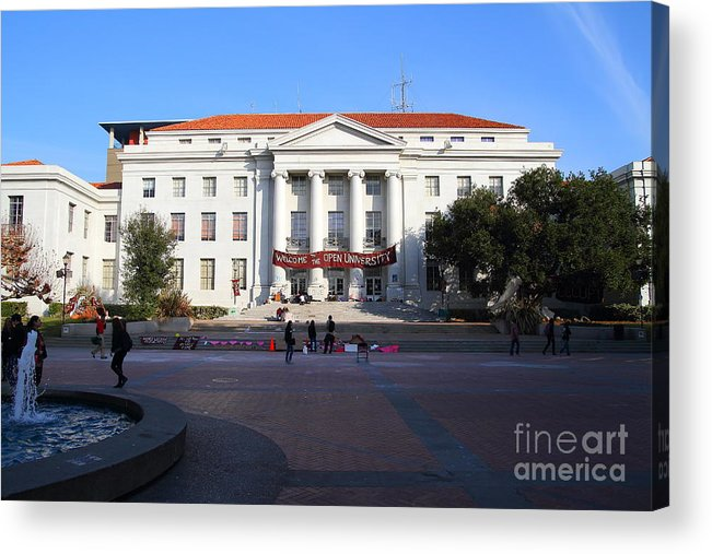 Sproul Acrylic Print featuring the photograph Uc Berkeley . Sproul Hall . Sproul Plaza . Occupy Uc Berkeley . 7d9994 by Wingsdomain Art and Photography