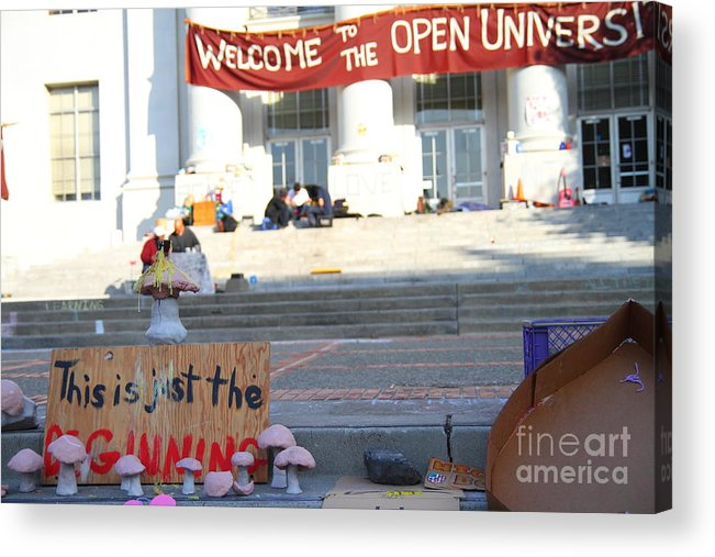 Sproul Acrylic Print featuring the photograph Uc Berkeley . Sproul Hall . Sproul Plaza . Occupy Uc Berkeley . The Is Just The Beginning . 7d10018 by Wingsdomain Art and Photography