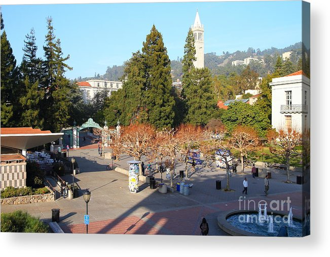 Sproul Plaza Acrylic Print featuring the photograph Uc Berkeley . Sproul Hall . Sproul Plaza . Sather Gate And Sather Tower Campanile . 7d10016 by Wingsdomain Art and Photography