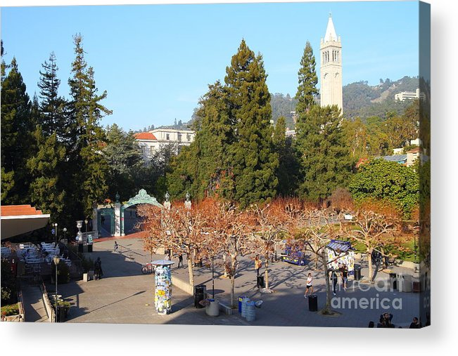 Sproul Plaza Acrylic Print featuring the photograph Uc Berkeley . Sproul Plaza . Sather Gate And Sather Tower Campanile . 7d10000 by Wingsdomain Art and Photography