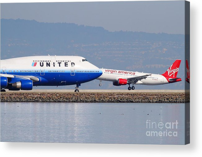 Virgin Acrylic Print featuring the photograph United Airlines And Virgin America Airlines Jet Airplanes At San Francisco International Airport Sfo by Wingsdomain Art and Photography