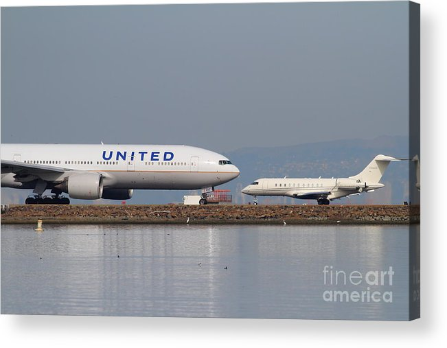 United Acrylic Print featuring the photograph United Airlines Jet Airplane At San Francisco International Airport Sfo . 7d12081 by Wingsdomain Art and Photography