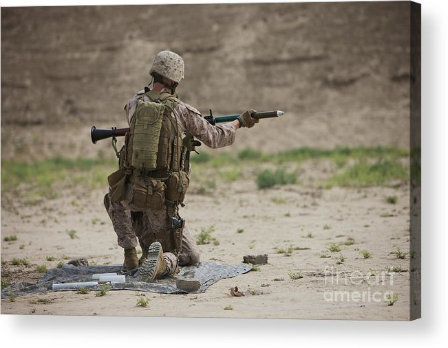 Soldier Acrylic Print featuring the photograph U.s. Marine Prepares A Fragmentation by Terry Moore