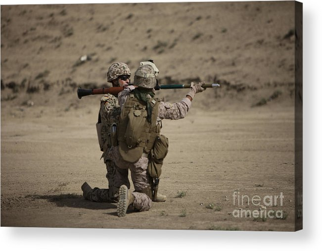 Fragmentation Acrylic Print featuring the photograph U.s. Marines Load A Fragmentation Round by Terry Moore