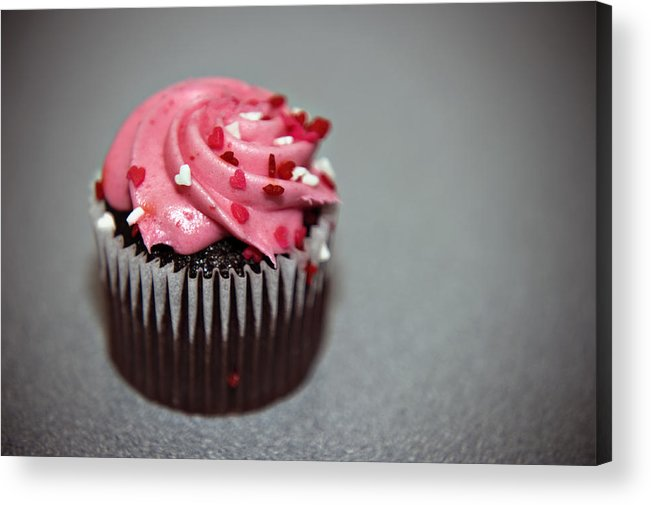 Against Acrylic Print featuring the photograph Valentines Cupcake by Malania Hammer