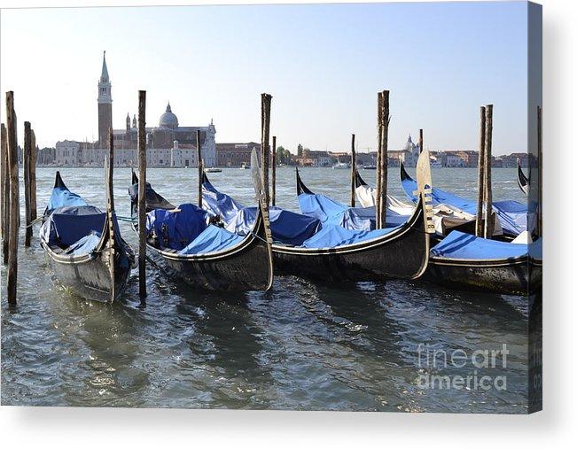 Gondolas Acrylic Print featuring the photograph Venice Gondolas by Rebecca Margraf