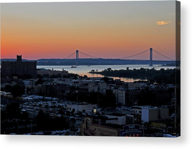 Sunset Photography Acrylic Print featuring the photograph Verazano Sunset by Diane Lent
