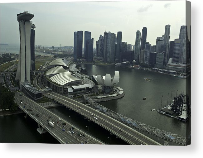 Asia Acrylic Print featuring the photograph View Of Marina Bay Sands And Other Buildings From The Singapore by Ashish Agarwal