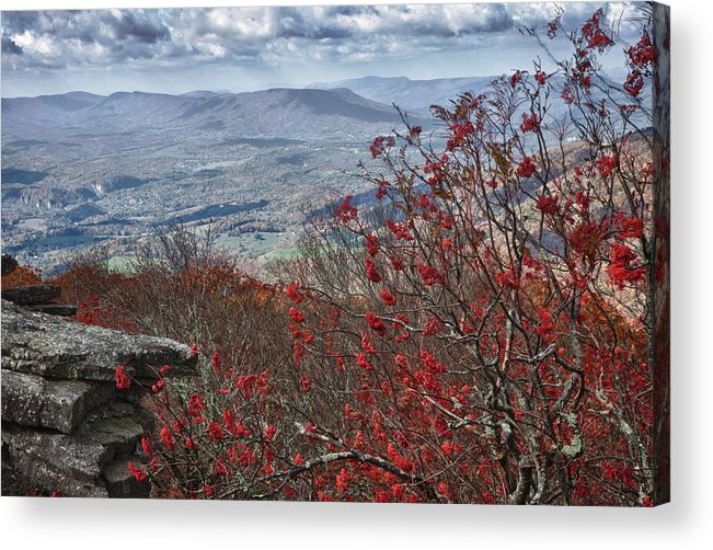 Virginia Acrylic Print featuring the photograph View Of The New River Valley From The Bald Knob Overlook by James Woody