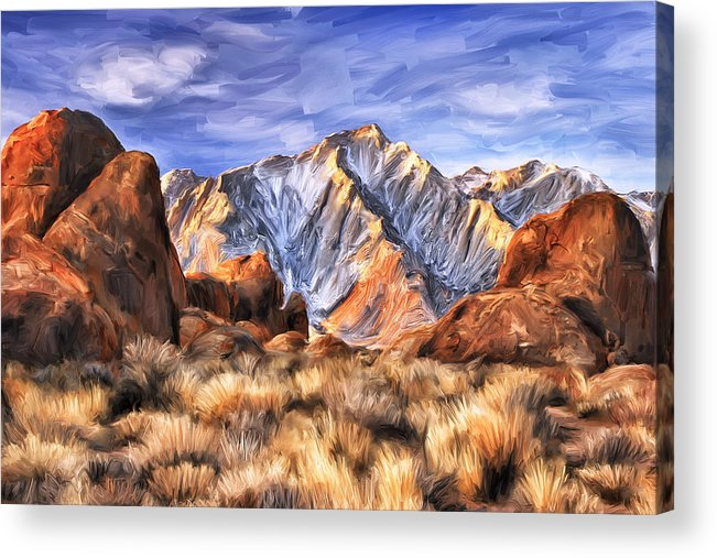 View Of The Sierras Acrylic Print featuring the painting View Of The Sierras by Dominic Piperata