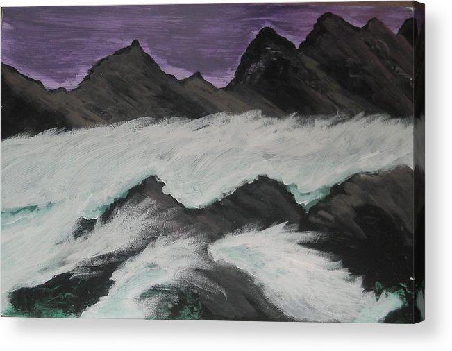 Violet Acrylic Print featuring the painting Violet Raging Waters by Marie Bulger