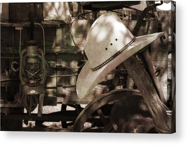 Cowboy Acrylic Print featuring the photograph Waiting For The Cowboy by Toni Hopper