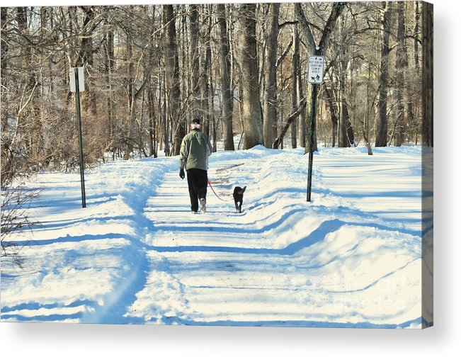 Winter Acrylic Print featuring the photograph Walking The Dog by Paul Ward