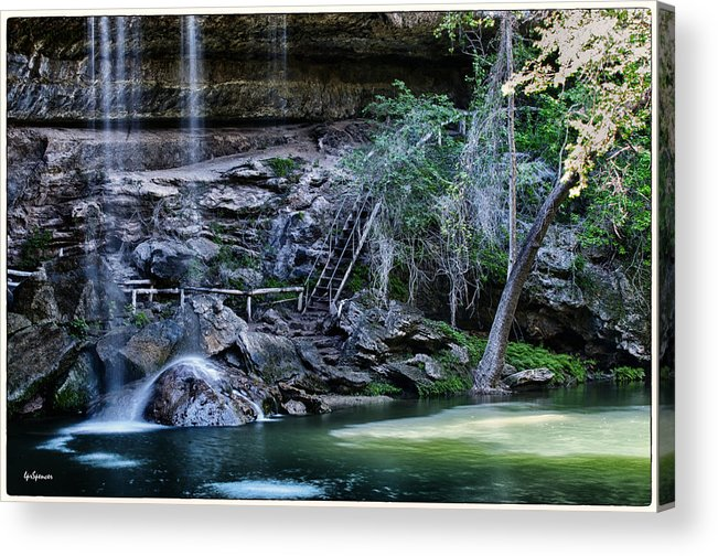 Water Acrylic Print featuring the photograph Water And Lights At Hamilton Pool by Lisa Spencer