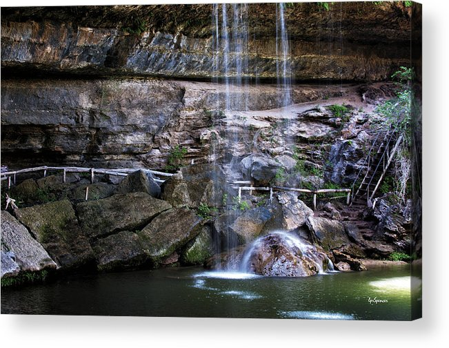 Water Acrylic Print featuring the photograph Water Flow Over A Rock At Hamilton Pool by Lisa Spencer