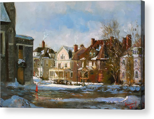 Houses Acrylic Print featuring the painting West Ferry Street by Ylli Haruni