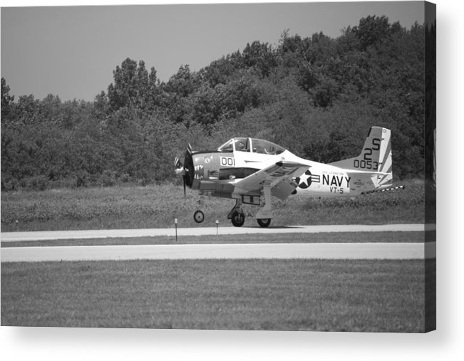 Black And White Acrylic Print featuring the photograph Wheels Up Black And White by Thomas Woolworth