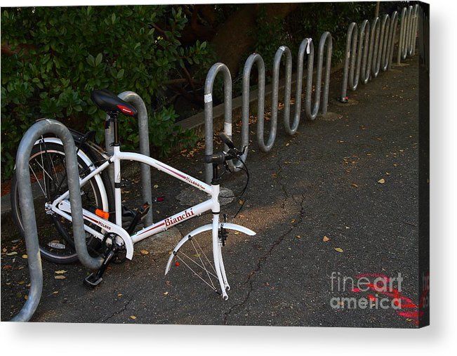 Transportation Acrylic Print featuring the photograph White Bicycle . 7d10119 by Wingsdomain Art and Photography