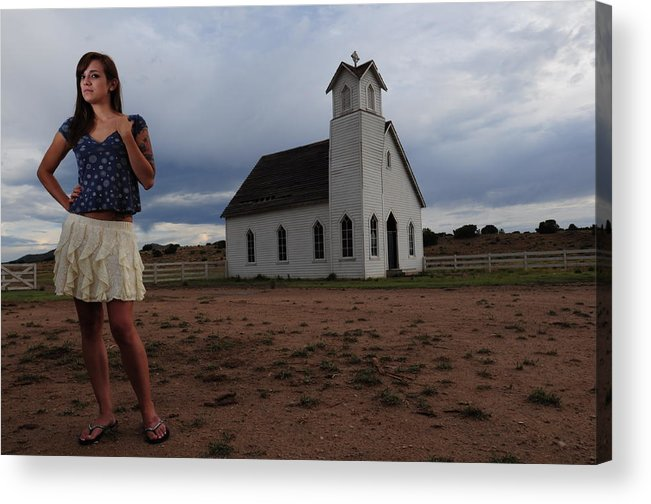 White Church Acrylic Print featuring the photograph White Church And Model by Dale Davis