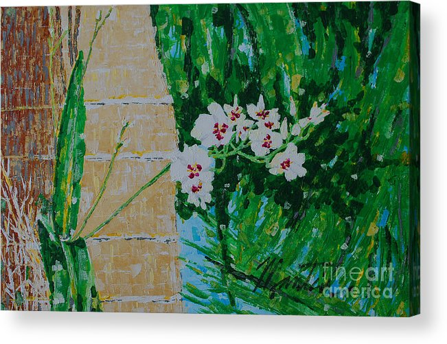 Landscape Acrylic Print featuring the painting Wild Orchards by Art Mantia