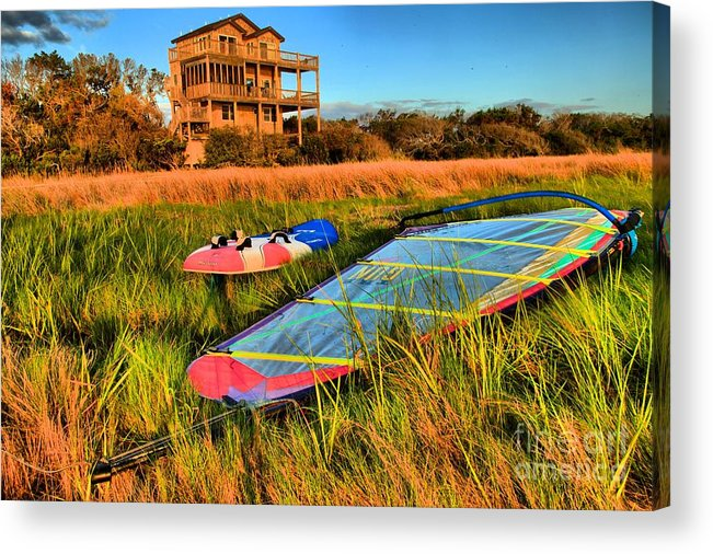 North Carolina Outer Banks Acrylic Print featuring the photograph Windsurfers Waiting by Adam Jewell