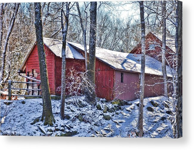 Landscape Acrylic Print featuring the photograph Winter Barn by Nancy Rohrig