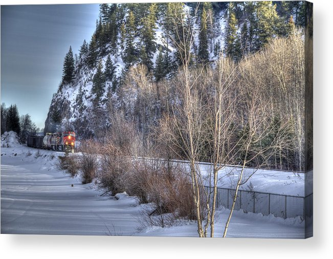 Blue Acrylic Print featuring the photograph Winter Train by Kim French