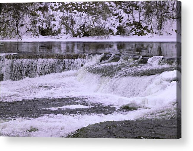 Acrylic Print featuring the photograph Winter Waterfalls by Josef Pittner