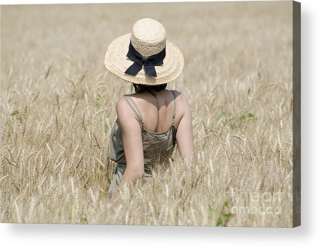 Woman Acrylic Print featuring the photograph Woman On The Wheat Field by Mats Silvan
