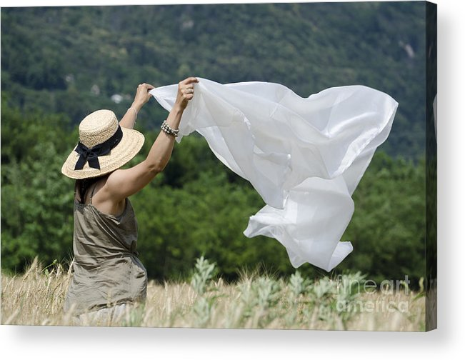 Woman Acrylic Print featuring the photograph Woman With A White Sheet by Mats Silvan