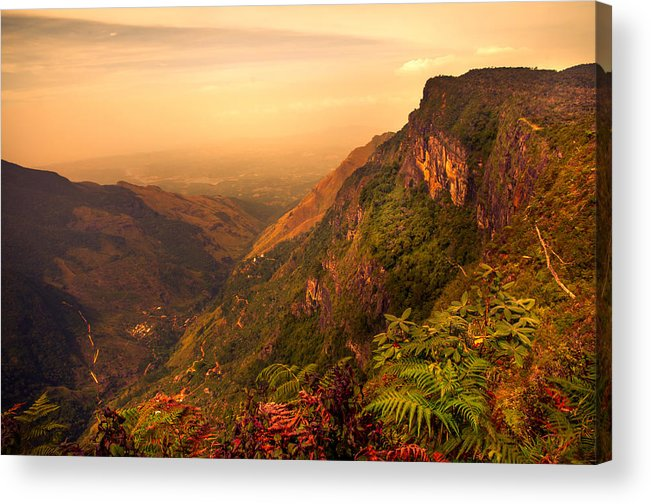 Nature Acrylic Print featuring the photograph Worlds End. Horton Plains National Park. Sri Lanka by Jenny Rainbow