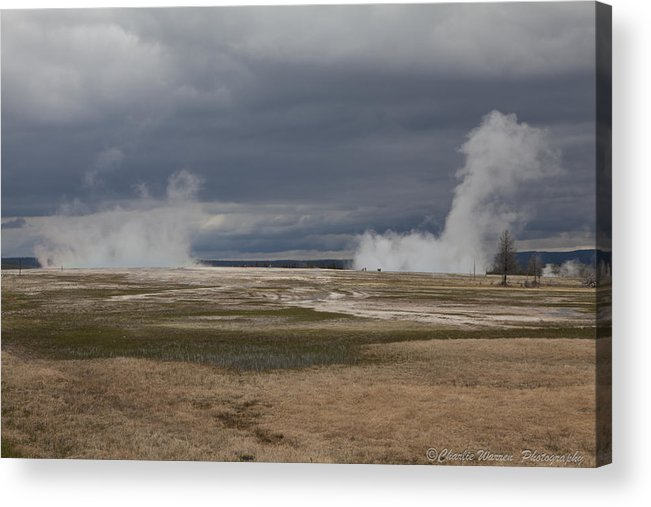 Geyser Acrylic Print featuring the photograph Yellowstone Geysers2 by Charles Warren