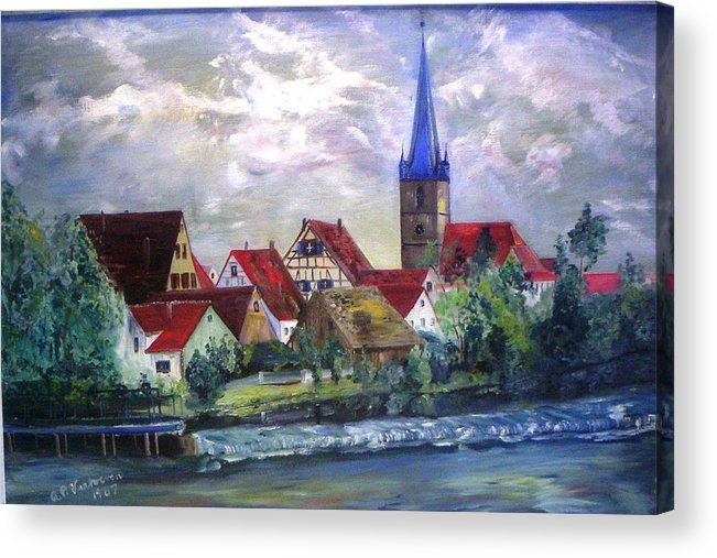 Landscape River Regnitz Church Erlangen Bruck Germany Acrylic Print featuring the painting Brucker Kirche by Alfred P Verhoeven