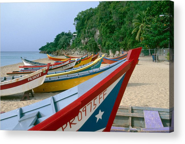 Aquadilla Acrylic Print featuring the photograph Colorful Fishing Boats On Crashboat Beach by George Oze