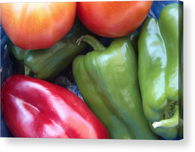 Red Acrylic Print featuring the photograph Fresh Peppers And Tomatoes by Steve Outram