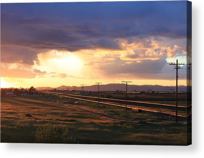 Sunset Acrylic Print featuring the photograph Last Light On The Railroad by Remegio Onia