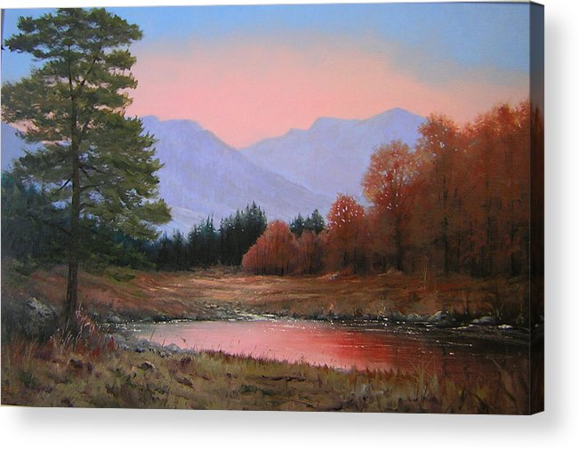 Landscape Acrylic Print featuring the painting 051116-3020   First Light Of Day  by Kenneth Shanika