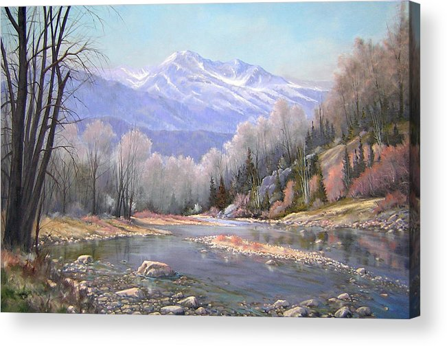 Landscape Acrylic Print featuring the painting 060521-3624 Spring In The Rockies by Kenneth Shanika