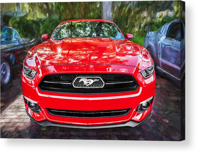 2014 Ford Mustang Acrylic Print featuring the photograph 2014 Ford Mustang Gt Painted by Rich Franco