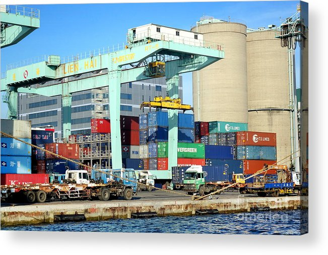 Taiwan Acrylic Print featuring the photograph A Container Is Loaded In Kaohsiung Port by Yali Shi